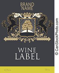 Template of wine label with a coat of arms with two horses reared under the royal crown