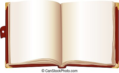 open book in the red cover
