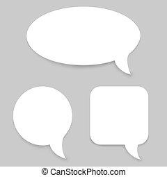 template., papel, vetorial, fala, bolhas, branca