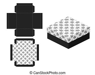 Template paper gift package. Seamless background with stylistics turtles. Vector illustration.