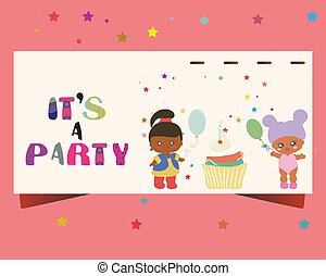 Template party invitation with baby dolls, cupcake.