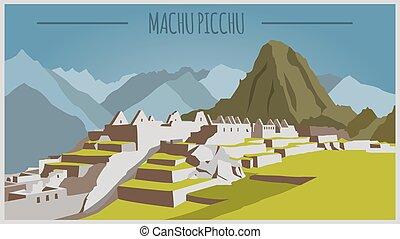 template., picchu, machu, ciudad de edificios, gráfico, peru.