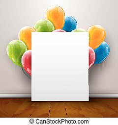 Template poster in interior background with red balloons on the wooden floor, 3d vector illustration