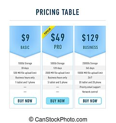Template pricing tables flat set. Editable hosting business plans for websites and applications