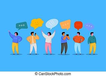 template., réseau, concept., gens, communication, speaking., virtuel, groupe, caractères, bavarder, social, jeune