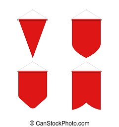 Pennant Set - Template Red Blank Realistic Pennant Set on...