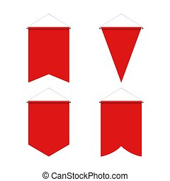 Pennant Set - Template Red Blank Realistic Pennant Set on ...