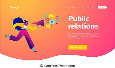 template., relaciones, público, página, aterrizaje