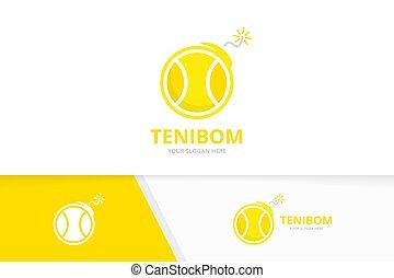 template., símbolo, vector, o, combination., logotype, logotipo, diseño, icon., juego, bomba, detone, pelota, tenis, arma, único