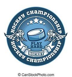 template., schablone, abzeichen, championship., logotype, t-shirt, kleidung, logo, oder, hockey, design., emblem, sport, turnier, mannschaft