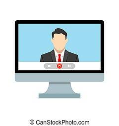 template., screen., ui, llamada, computadora, reunión, uno, ...