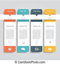 template., ser, empresa / negocio, opciones, infographic, lata, diagrama, design., disposición, tela, utilizado, workflow, bandera, paso