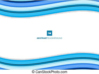 Template simple blue wave lines minimal curve paper layer modern elegant on white background with space for text.