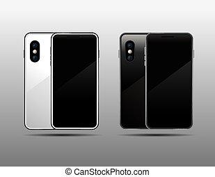 Template Smartphone black&white , Mock up,  Vector illustration.