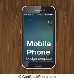 Template smartphone on a wooden background