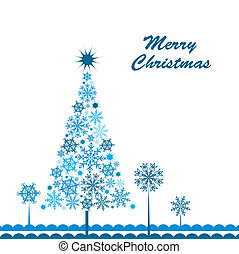 Template snowflake tree greeting card, vector