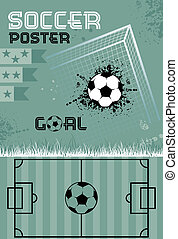 Template soccer poster, vector