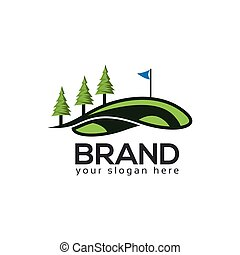 template., sports., logotipo, campo de golf