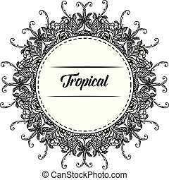 Template spring flower frame, design of tropical card. Vector