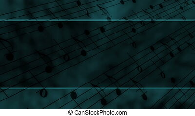 Template Style Music Notes Looping Animated Background in Deep Blue