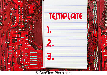 Template text concept over computer background