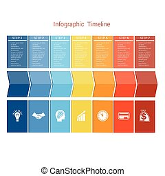 Template Timeline Infographic colored arrows seven position