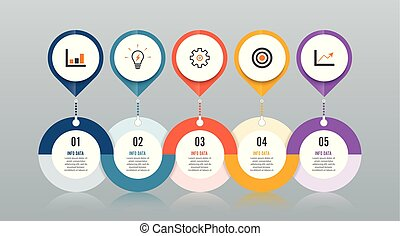 Template Timeline Infographic colored horizontal numbered for five position can be used for workflow, banner, diagram, web design, area chart