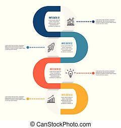Template Timeline Infographic colored horizontal numbered for four position can be used for workflow, banner, diagram, web design, area chart