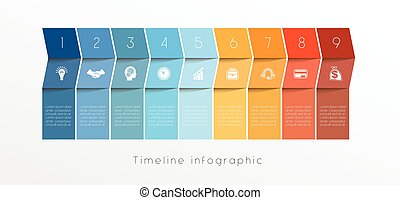 Template Timeline Infographic design for nine position