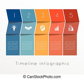Template Timeline Infographic design for five position