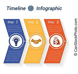 Template Timeline Infographic from colour arrows 3 position