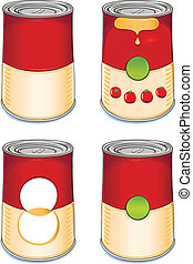 Template tin can tomato soup isolated on white background. Created in Adobe Illustrator. Image contains gradients and gradient meshes. EPS 8.
