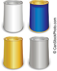 Colored tin can templates isolated on white background. Created in Adobe Illustrator. Image contains transparencies, gradients and blends. EPS 10.