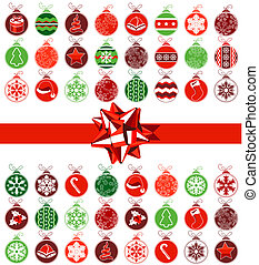 Template various Christmas balls and red bow