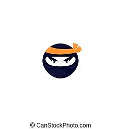 template., vecteur, conception, logo, ninja