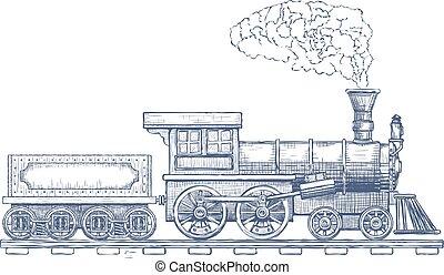 template., vecteur, ou, logo, conception, transport, vendange, icon., train vapeur, locomotive