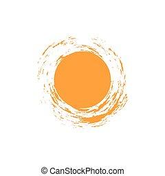 template., vecteur, points, inhabituel, logo, conception, rond, forme., isolé, symbole., soleil, résumé