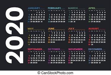 template., vecteur, sunday., semaine, 2020, calendrier, débuts