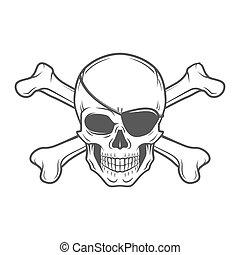 template., vector., crossbones, tシャツ, ロゴ, design., roger, ...