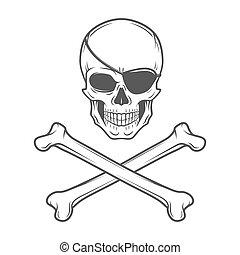 template., vector., crossbones, tシャツ, 概念, ロゴ, 頭骨, design., roger, とても, eyepatch, 海賊, バッジ, 暗い, 悪