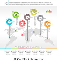Template vector design - world map infographic with map pointers