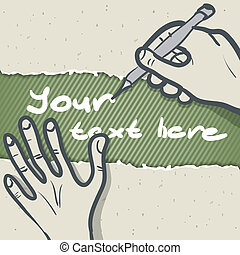 Template vector illustration of a hand writing
