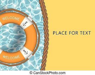 template., water., vector, cuerda de salvamento, text., ...