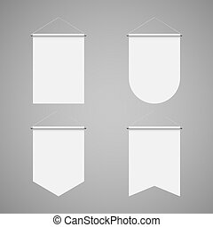 Pennant Set - Template White Blank Realistic Pennant Set on...