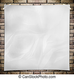 Template- White crumpled square Poster on grunge brick wall