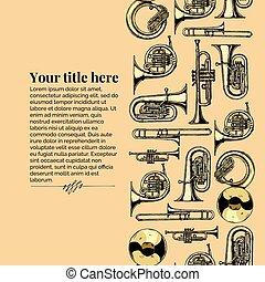 Vector vintage engraving template with brass musical instrument. Seamless pattern stripe. Place for your text.