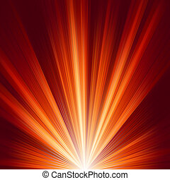 Template with burst warm color light. EPS 8 vector file...