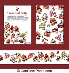 Template with different  fruit cake slices.