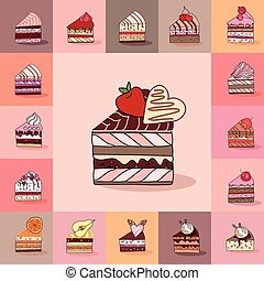Template with different kinds of cake slices. Delishious desserts, various taste. For restaurant design, posters, announcements, cafe menu etc.