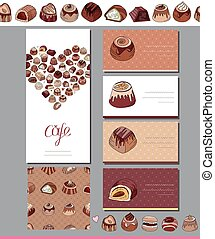 Template with different kinds of chocolate candies - milk,dark,white chocolate